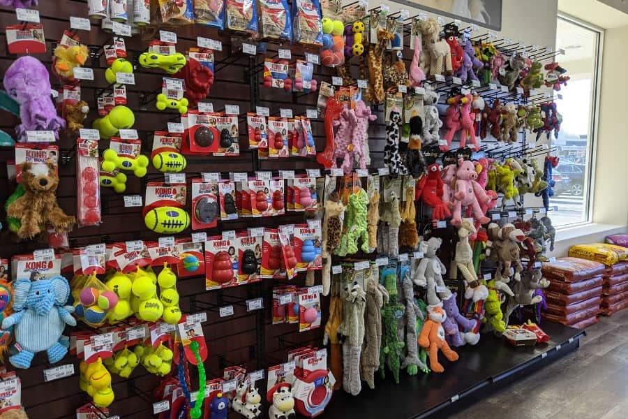 Dog toys lining an aisle
