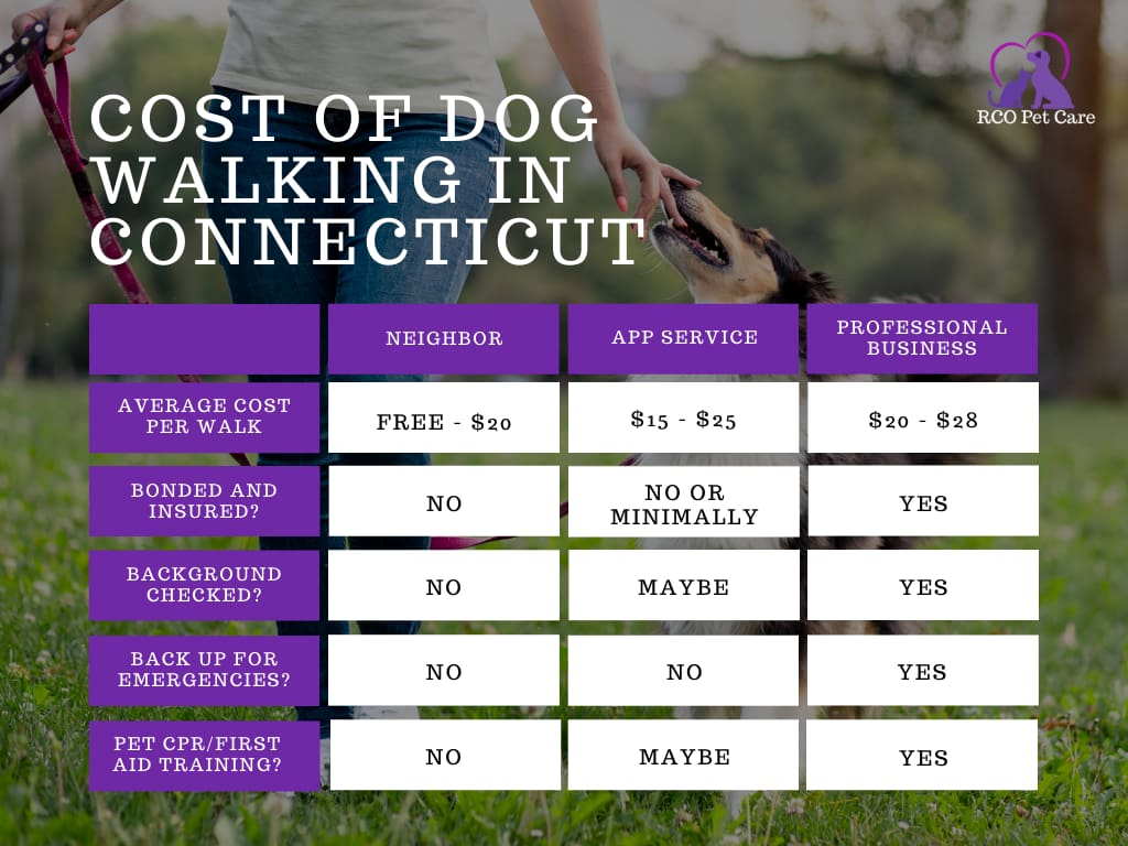 Chart comparing costs of dog walkers in Connecticut